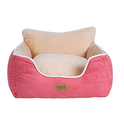 MISSMAO_FASHION2019 Hundebett Haustierbett für Katzen und Hunde Rechteck Ultra Weicher Plüsch luxuriöse Haustier-Schlafsack Maschine waschbar Rot S