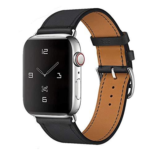MroTech Compatible con iWatch 42mm 44mm Correa Cuero Pulseras de Repuesto 44 mm 42 mm Watch Band Piel Genuino Reemplazo para iWatch Serie 5/4/3/2/1 Banda de Reloj Negro