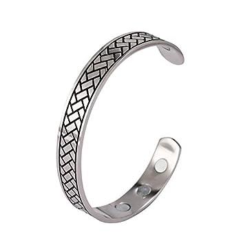 LUSSO Mens Cuff Bracelet Vintage Pattern Viking Bracelet Stainless Steel Bracelets for Men Magnetic Bracelets for Women Engraving Geometric Pattern Health Care Amulet Bangles Bracelets for Women