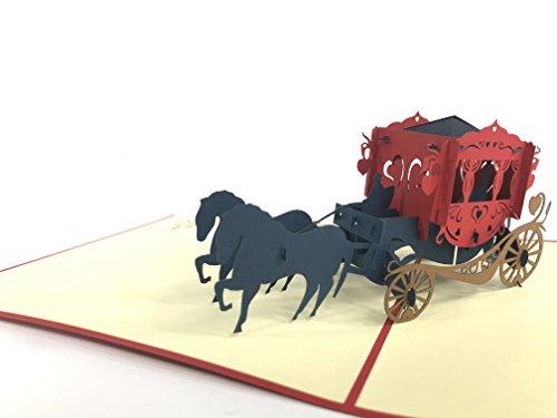 Mooie Bruiloft Caretta met Paarden 3D pop-up Kaart Bruiloft Wensen Card Gefeliciteerd Huwelijk Paar Uitnodigingen