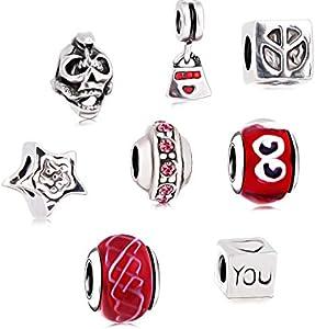 AKKi jewelry Charms para pulsera Pandora, juego de abalorios de cristal de Murano, cadena Best Charm para mujer, joyas de plata de ley, diseño de flores, multicolor