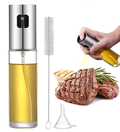 SUPBEC Olive Oil Sprayer for Cooking [Stainless Steel Series] Mister Dispenser BBQ Refillable Oil Vinegar Glass Spritzer with Oil Spray for Cooking Salad Grilling Roasting Air Fryer Kitchen-1Pcs-Clear
