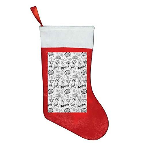 long christmas socks Sketch,Pattern with Comic Book Doodle Speech Bubbles Sound Effects Cloud Pop Art Humor,Black and White Kids Boys Girls Socks W12 x L16Inch
