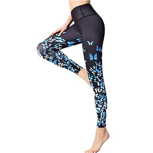 YLBH Yoga Kleidung Gedruckt Yogahosen Frauen Hohe Taille HüFten Enge Tanz Sport Fitness Hosen Mit Hosentasche Hohe Taille Sport Leggins FüR Fitness Damen Leggings Blue27 S