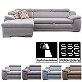 Cavadore Ecksofa Aniamo mit XL-Longchair links / Eckcouch mit Kopfteilfunktion im modernen Design / Sitzecke für Wohnzimmer / Größe: 270 x 80 x 165 cm (BxHxT) / Bezugsstoff in hellgrau