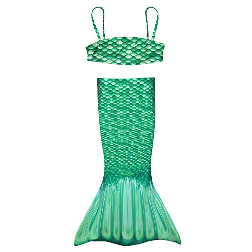 Fin Fun Toddler Mermaiden's New Celtic Green Mermaid Tail, with Matching Bandeau Bikini Top, Costume for Swimming, 3T