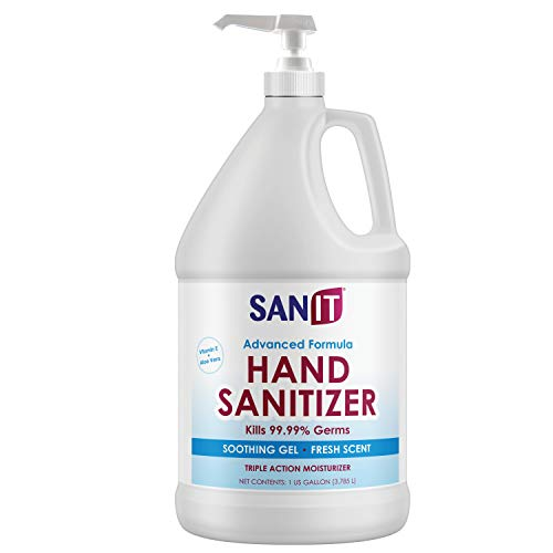 Sanit Moisturizing Hand Sanitizer Gel 70% Ethyl Alcohol - Kills 99.99% Germs, Advanced Formula with Vitamin E and Aloe Vera - Soothing Gel, Fresh Scent, Made in USA - 1 Gallon with Easy to Use Pump