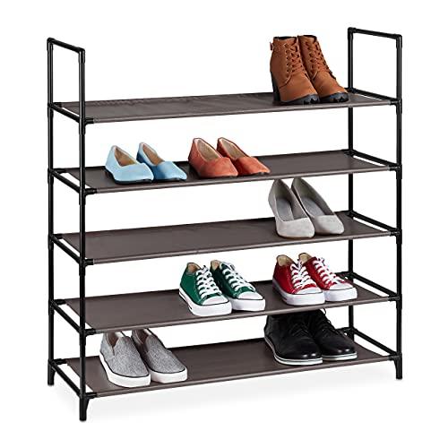 Relaxdays Zapatero XL, 5 Niveles, para 20 Pares de Zapatos, plástico, 90,5 x 87,5 x 30 cm, Color marrón