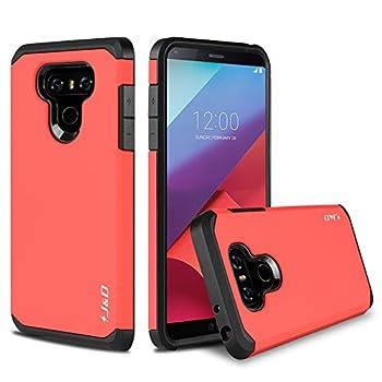 J&D Case Compatible for LG G6 / LG G6 Plus Case Heavy Duty Dual Layer Hybrid Shock Proof Protective Rugged Bumper Case for LG G6 Plus LG G6 Case Red
