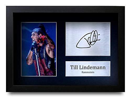 HWC Trading Till Lindemann Rammstein Geschenke, signiertes Autogramm, für Fans von Musik-Andenken, Till Lindemann (A4 Framed), A4