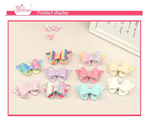 XIMA 10pcs Glitter Hair Bows Clips For Kids Girls Butterfly Hair Pin Accessoires Sparkly Bows Clips 5