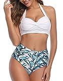 UMIPUBO - Bikini para mujer, dos piezas, ajustables, push up, trikini con estampado floral, blanco, L