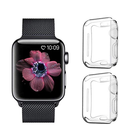 PEYOU Cover per Apple Watch Series SE / 6/5 / 4 40mm (2 Pezzi), Proteggi Schermo iwatch 4 [Copertura Completa] [HD Clear] [Anti-Graffio] Custodia Morbida in TPU per Apple Watch Series 6 5 4