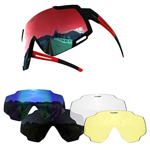 RUZER Pro -  Gafas de sol polarizadas para ciclismo con lentes reflectantes con protección UV 400 y 5 lentes intercambiables para bicicleta de montaña,  híbrida,  carrera,  bicicleta de carretera