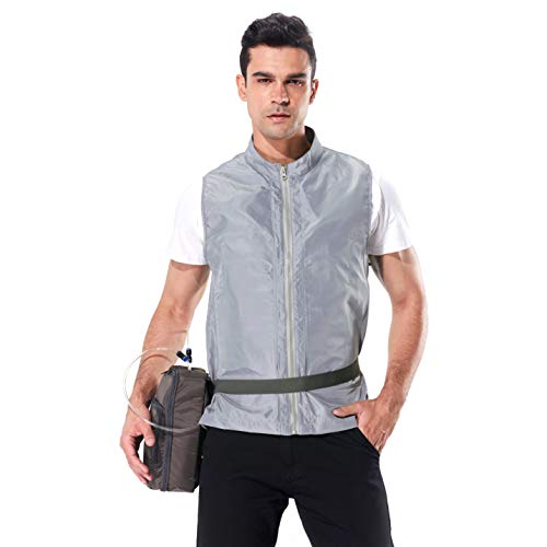 Personal Outerwear Cooling Vest, Ice Water Circulation Cooling System for Summer Outdoor Sports, Works (LightGray, Large)