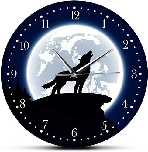 Reloj De Pared Reloj De Pared Sala De Estar Arte De Pared Salvaje Lobo Y Luna Reloj De Pared Decorativo Animales Salvajes Decoración Del Hogar Reloj De Pared De Cueva De Hombre Lobo Gris Reloj De Pare