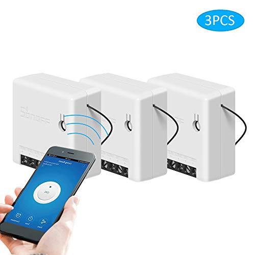 SONOFF Mini Smart Switch Interruptor de Control Remoto DIY para Electrodomésticos Funciona con Alexa Google Home (3 PCS)