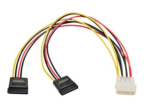 Tripp-Lite P946-12N-2P15 Dual Power Adapter Y Cable, Serial ATA SATA, LP4 4-Pin, 2x 15-Pin, 12'
