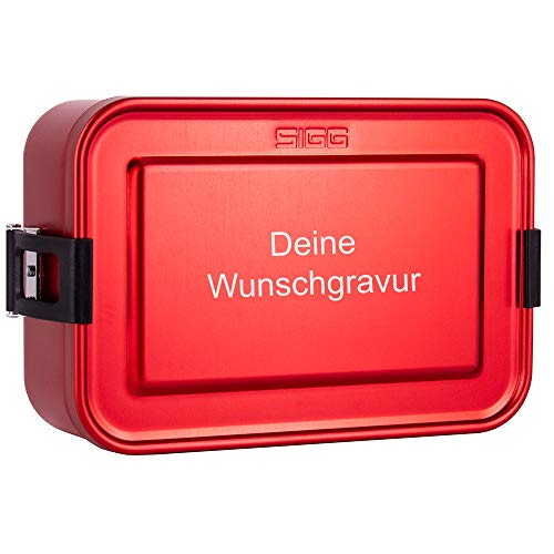 SIGG Lunchbox mit Gravur personalisiert in rot | leichte Brotdose aus Aluminium, BPA frei, auslaufsicher, mit herausnehmbarer Trennwand, perfekt geeignet für Schule, Kindergarten oder für die Arbeit