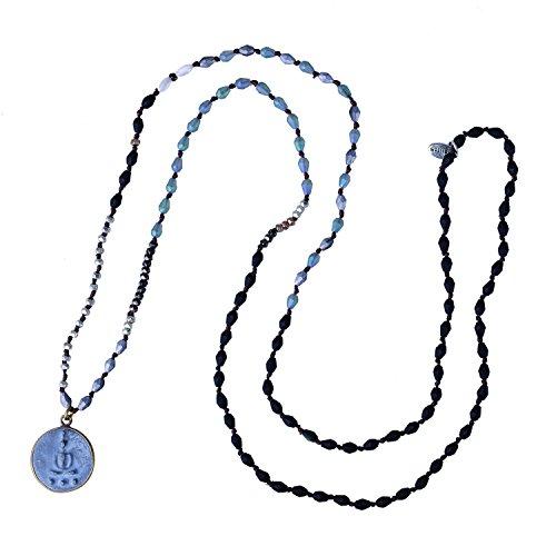 KELITCH Collares con Colgante De Buda Sakyamuni Collares con Cuentas De Plata Y Cristal Joyería De Meditación Y Yoga (Negro B)