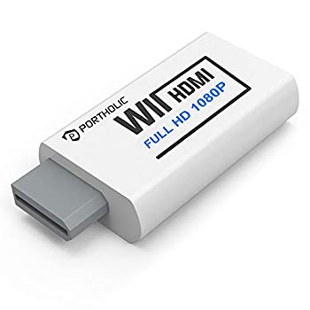 PORTHOLIC Wii to HDMI Converter 1080P for Full HD Device Wii HDMI Adapter with 3,5mm Audio Jack&HDMI Output Compatible with Nintendo Wii Wii U HDTV Monitor-Supports All Wii Display Modes 720P NTS