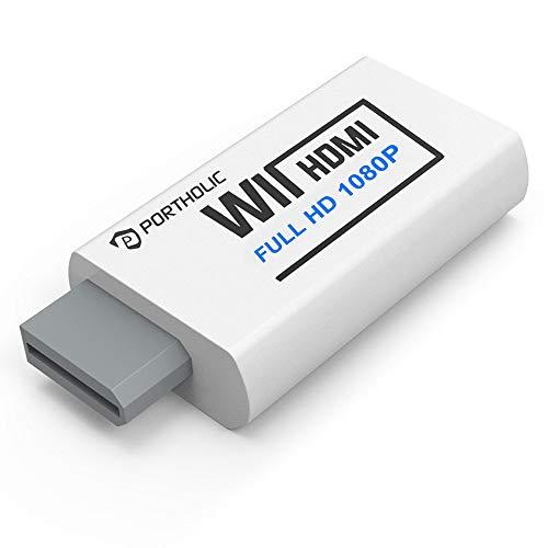PORTHOLIC Wii zu HDMI Adapter, 1080P/720P Full HD Konverter mit 3,5mm Buchse für Nintendo Wii U, Audioausgang, TV Monitor Beamer Fernseher