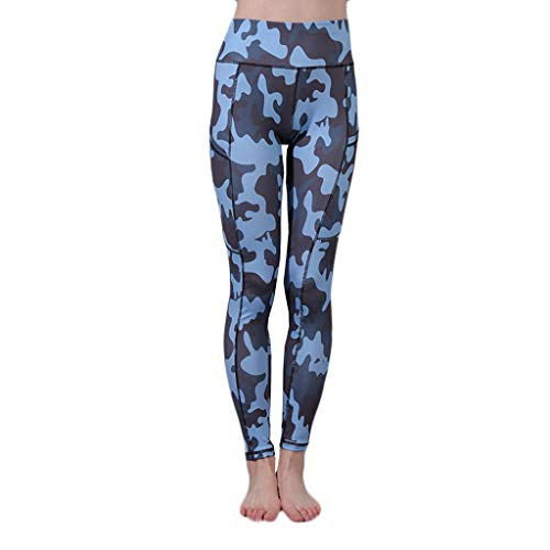 Delolito Jogginghosen Damen Mode Sexy Tarnung Gedruckt Yogahosen Taschen Hohe Taille Laufen Sport Fitness Leggings (C,Medium)