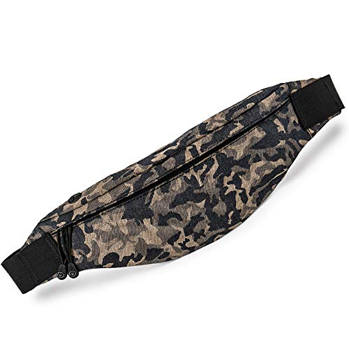 Men and Women Waterproof Running Belt Adjustable Elastic Fanny Camouflage Bag Dual Phone Pouch Waist Bag with Reflective Strip Nice for Gym Cycling Jogging etc.