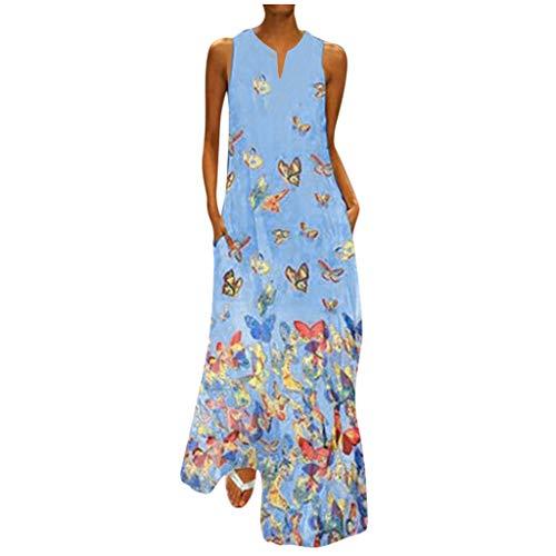 Mädchenkleider 134 Jeanskleider Damen Kleid Weiss Damen Maxi Kleid Kleid Midi Damen Sommer Wickelkleid Damen Kleidung Damen Abenskleid Blümchenkleid Damen Knielang Damen(Blau,XL)
