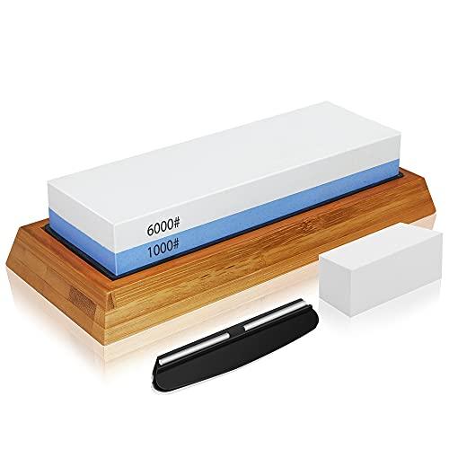 Whetstone Knife Sharpening Stone Set, 2-Sided Whetstone Sharpener 1000/6000 Grit Whetstone Kit for Chef Knife, Kitchen Knife with Non-Slip Bamboo and Silicon Base Angle Guide, Flattening Stone (white)