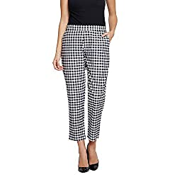 Fabnest Womens Cotton Black and White Check Pants