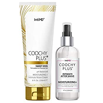 Coochy Plus Intimate Shaving Complete Kit - SWEET DIVA & Organic After Shave Protection Soothing Moisturizer Mist – Antioxidant Formula Prevents Razor Burns Itchiness & Ingrown Hairs