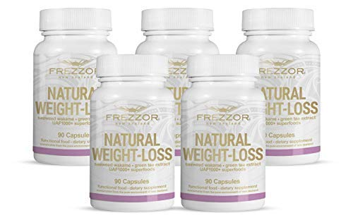 FREZZOR Weight-Loss Supplement 5-Pack, All-Natural New Zealand Superfoods, Carbohydrate Blocker, Fat Burner, Metabolism Booster, Appetite Suppressant, Improves Digestion, Bloat Relief, 450 Capsules
