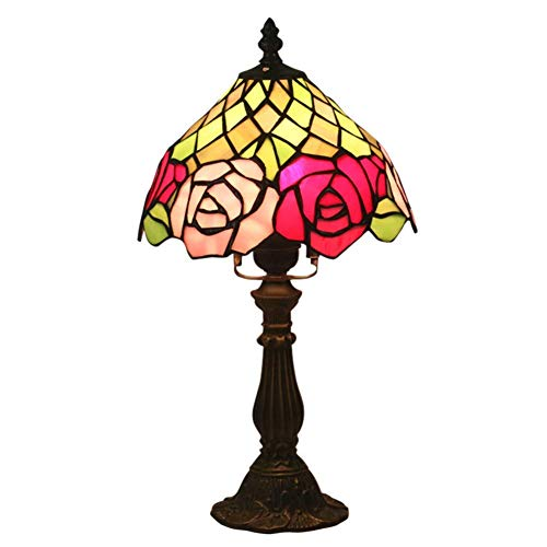 BALLYE Tiffany Style Retro E26 Lámpara de Mesa Diseño Floral, Vitral Sombra Mesa Soporte de aleación Ligera Lámpara de cabecera-Interruptor de atenuación 20x38cm