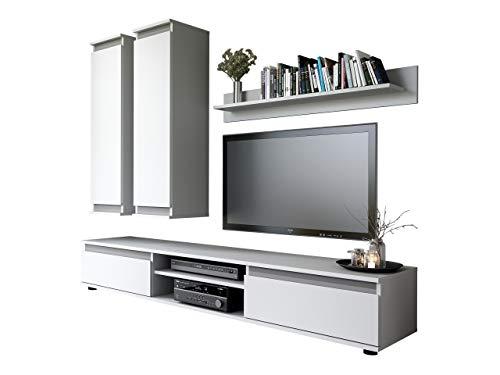 Mirjan24 Wohnwand, Weiß/Graphit, 175 x 37 x 190 cm