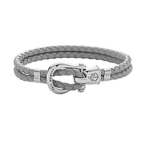 PAUL HEWITT Schäkel Armband Damen PHINITY - Leder Armband Frauen (Grau), Armband Damen mit Schäkel Verschluss aus Edelstahl (Silber)