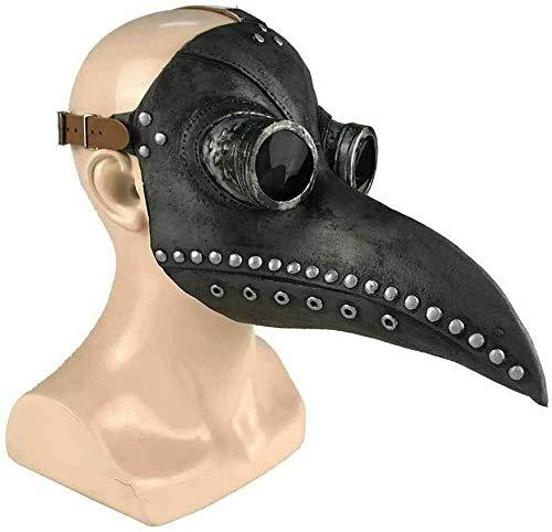 Máscara de Doctor Plaga de Látex, KEEHOM Pico de Pájaro de Nariz Larga Steampunk Disfraces de Halloween Cosplay, Costume para Adulto, Cinturón Ajustable, Negro