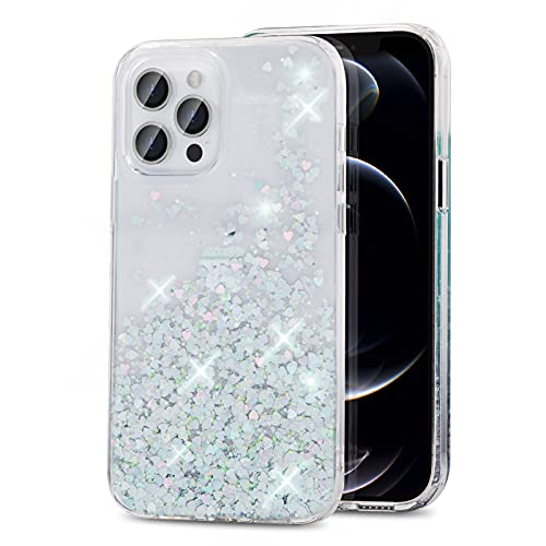 Gospire Glitter Case Design for iPhone 13 Pro 6.1 Inch Shockproof Hard PC with Soft TPU Edge, Anti-Scratch iPhone 13 Pro Sparkle Case for Women Girls (Clear)