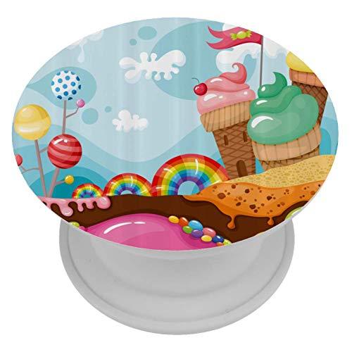 LORVIES Dessert Land Met Regenboog Snoepjes Lollipop Bomen En Cupcake Bergen Cartoon Mount Houder Uitbreiding Telefoon Popper Grip en Stand Hand Houder Knop voor Cellphone,1 PCS
