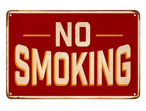 AOYEGO No Smoking Tin Sign,Red Vintage Metal Tin Signs for Cafes Bars Pubs Shop Wall Decorative Funny Retro Signs for Men Women 8x12 Inch