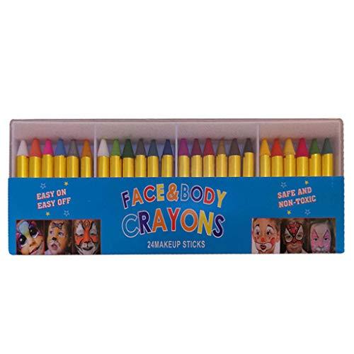24 unids/caja pintada cara Crayons nios cara cuerpo pintura maquillaje Crayons para Halloween disfraz fiesta Cosplay pintura Prop