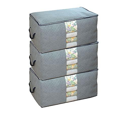 Bolsa de almacenamiento gruesa no tejida de gran capacidad para edredones, mantas, ropa de cama, edredones, suéteres, 60 x 34 x 43 cm (juego de 3)
