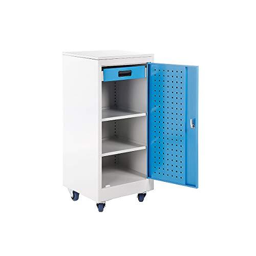 Certeo Werkstattschrank mit Rollen   HxBxL 112,8 x 50 x 50 cm   Grau RAL 7035-Lichtblau RAL 5012   Werkzeugschrank Materialschrank Metallschrank