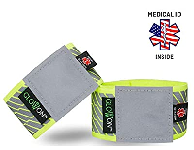 Reflective Bands for Running, Cycling, Jogging, Walking | 75% Reflective Tape Surface | Medical ID Reflective Gear | Reflective Arm Wrist Ankle Leg Band | Bike Pants Cuff | Men | Women (adjustable)