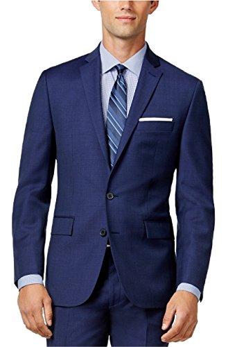 Ryan Seacrest Mens Textured Double Vent Two-Button Blazer Blue 38R
