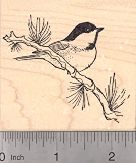 Black Capped Chickadee Rubber Stamp, North American Songbird, State Bird of Maine and Massachusetts