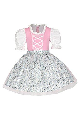 tanzmuster Kinder Trachtenkleid/Dirndl Tutu Ballerina mit Tüllrock und Schürze (2-teilig) - Zauberhaftes Tüllkleid für kleine Ballerinas - rosa, Größe:116/122