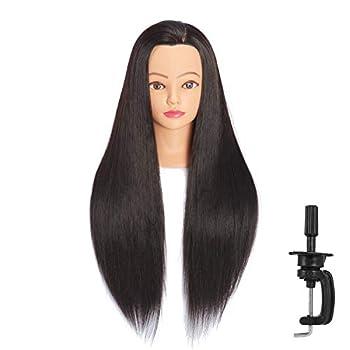 Headfix 26 -28  Long Hair Mannequin Head Stnthetic Fiber Hair Hairdresser Practice Styling Training Head Cosmetology Manikin Doll Head With Clamp  6F1818LB0220