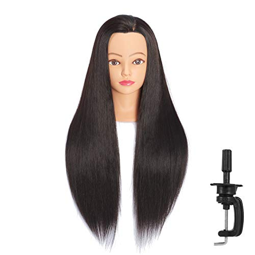 Headfix 26'-28' Long Hair Mannequin Head Stnthetic Fiber Hair Hairdresser Practice Styling Training Head Cosmetology Manikin Doll Head With Clamp (6F1818LB0220)