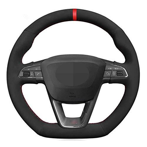 WZJFZPL Couvercle de Volant de Voiture Noir Cousu à la Main, pour Seat Leon Cupra R Leon St Cupra Leon St Cupra Ateca Cupra Ateca FR